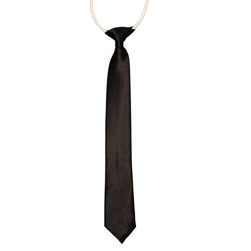 Boys Tie Black Satin