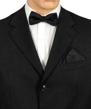 Black Fine Stripe Bow Tie