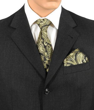 Black & Gold Paisley Wedding Ties