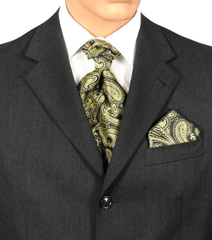 Black And Gold Paisley Fat Boy Ties