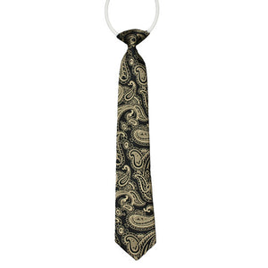 Boys Black And Gold Paisley Tie