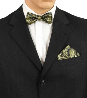 Black And Gold Paisley Bow Tie