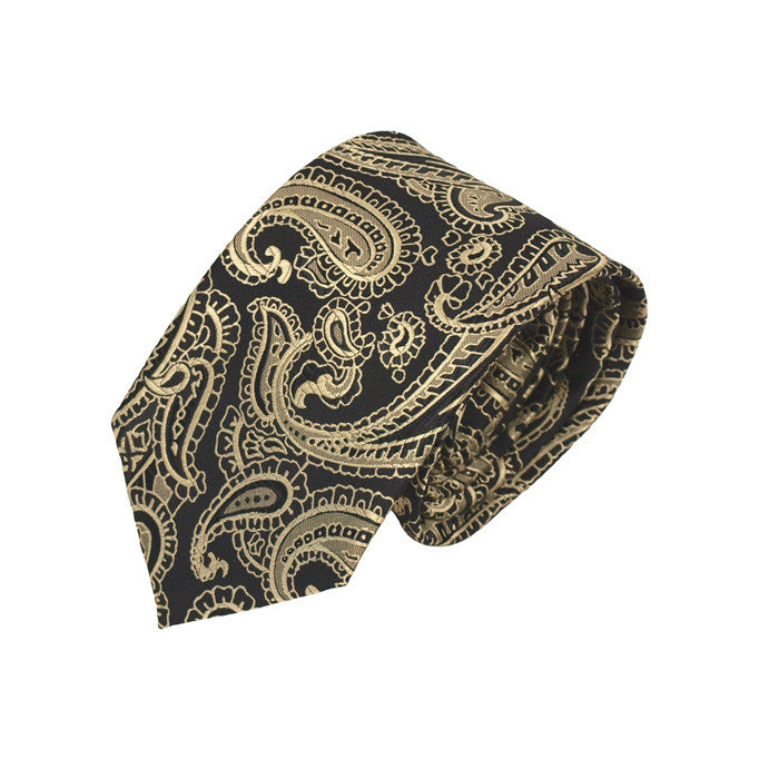 Wedding Ties Black & Gold Paisley