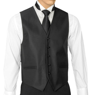 Black Herringbone Vest