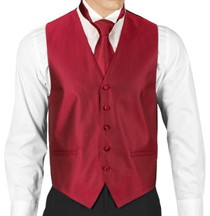 Red Herringbone Formal Vest