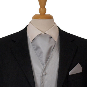 Silver Fine Striped Ascot Cravat