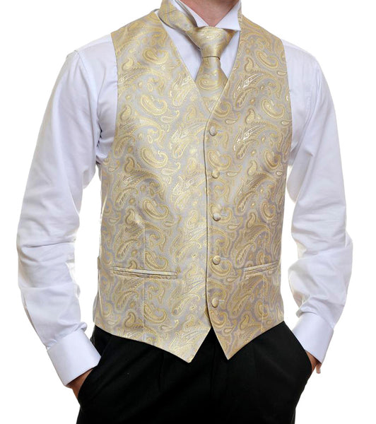 Silver And Gold Paisley Vest