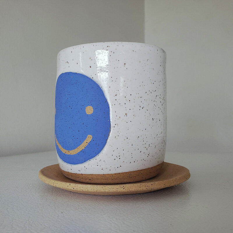 "4"" Wide Blue Smiley Planter with Plate: Bowl Cut Ceramics"
