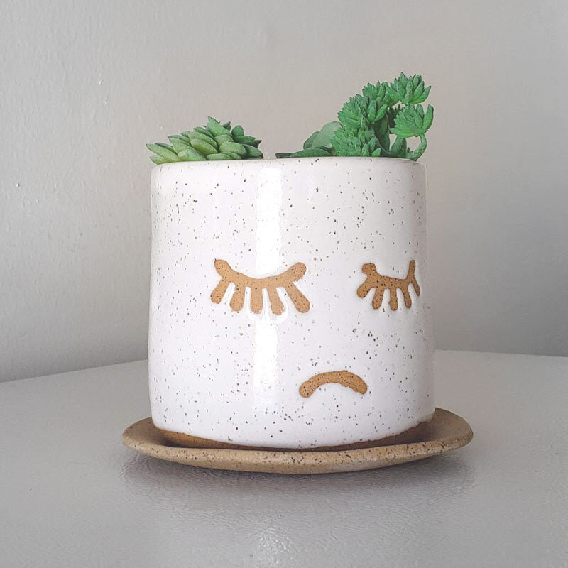 SMILEY FROWNY PLANTER: Bowl Cut Ceramics