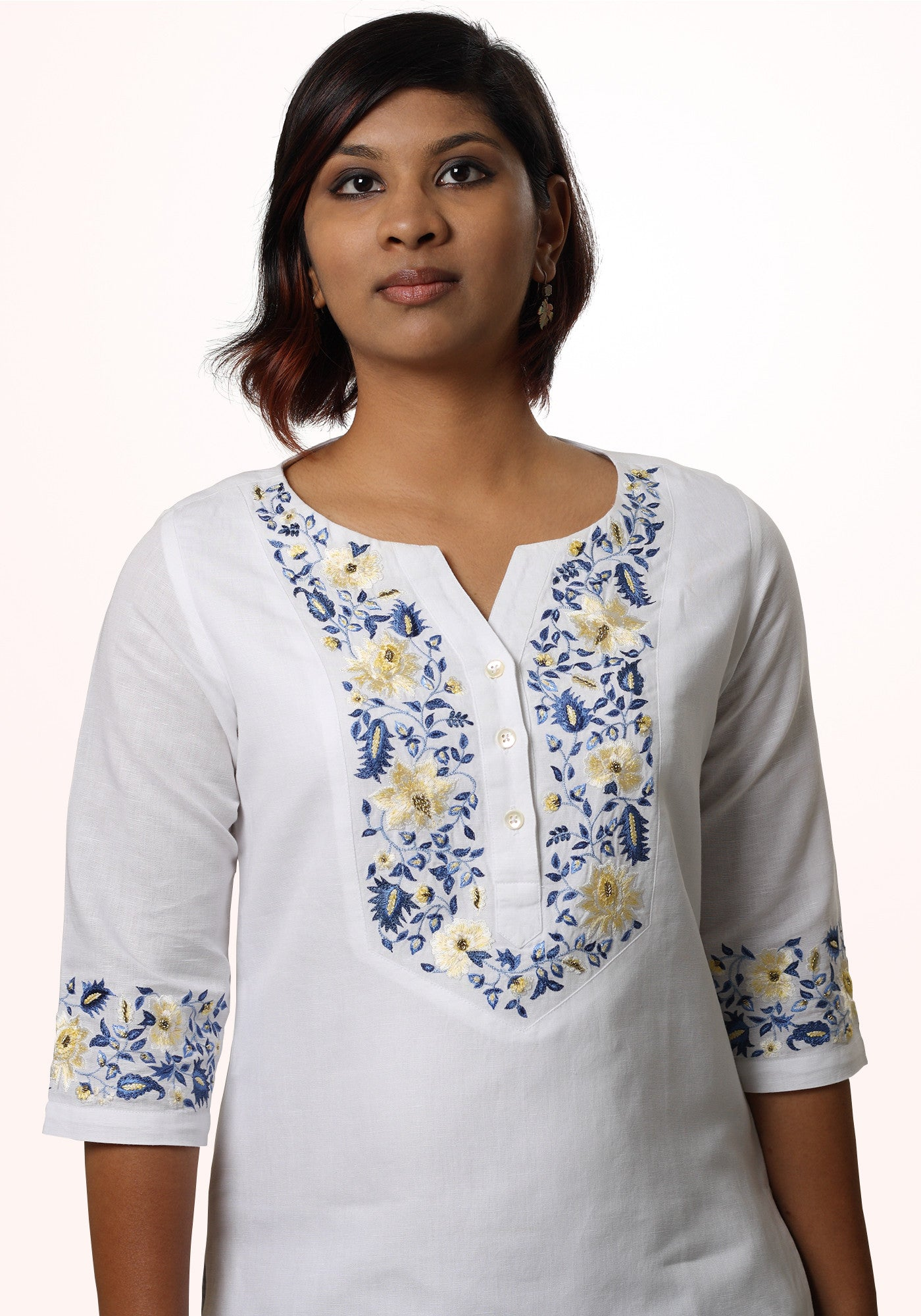 Embroidered White Linen Top - MINC ecofashion