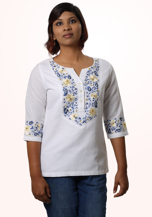 Embroidered White Linen Top