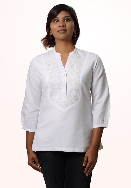 Embroidered Tunic in White Linen