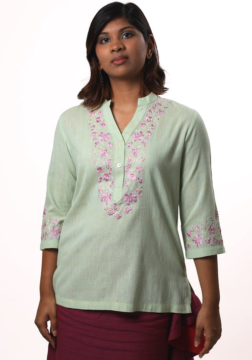 Heri Green top in Embroidered Cotton Khadi