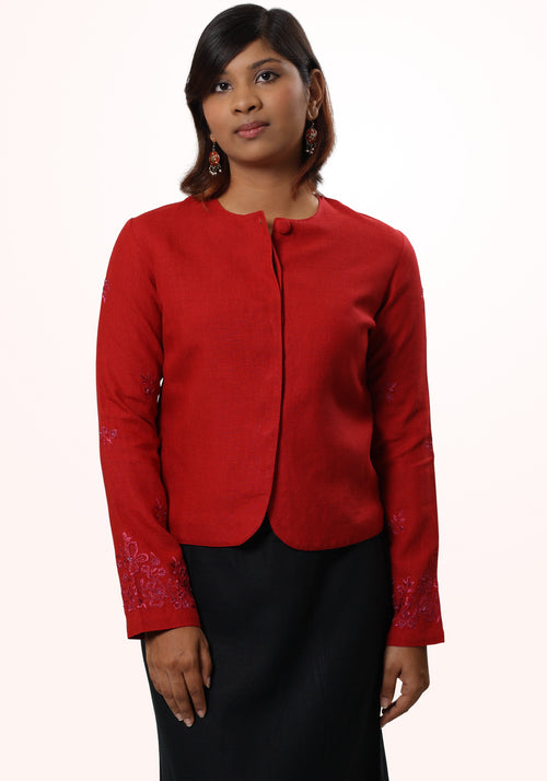 Kate Embroidered Jacket in Red Linen
