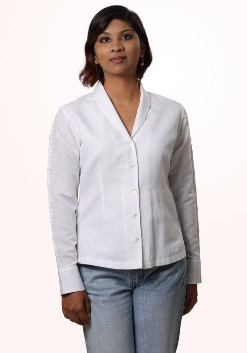 Shawl Collar Shirt In White Linen
