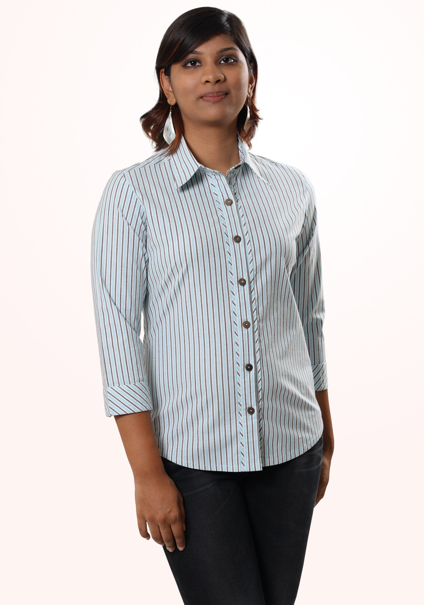 Bias Trim Striped cotton Shirt - MINC ecofashion