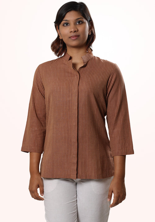 Asymmetric Striped Khadi Top