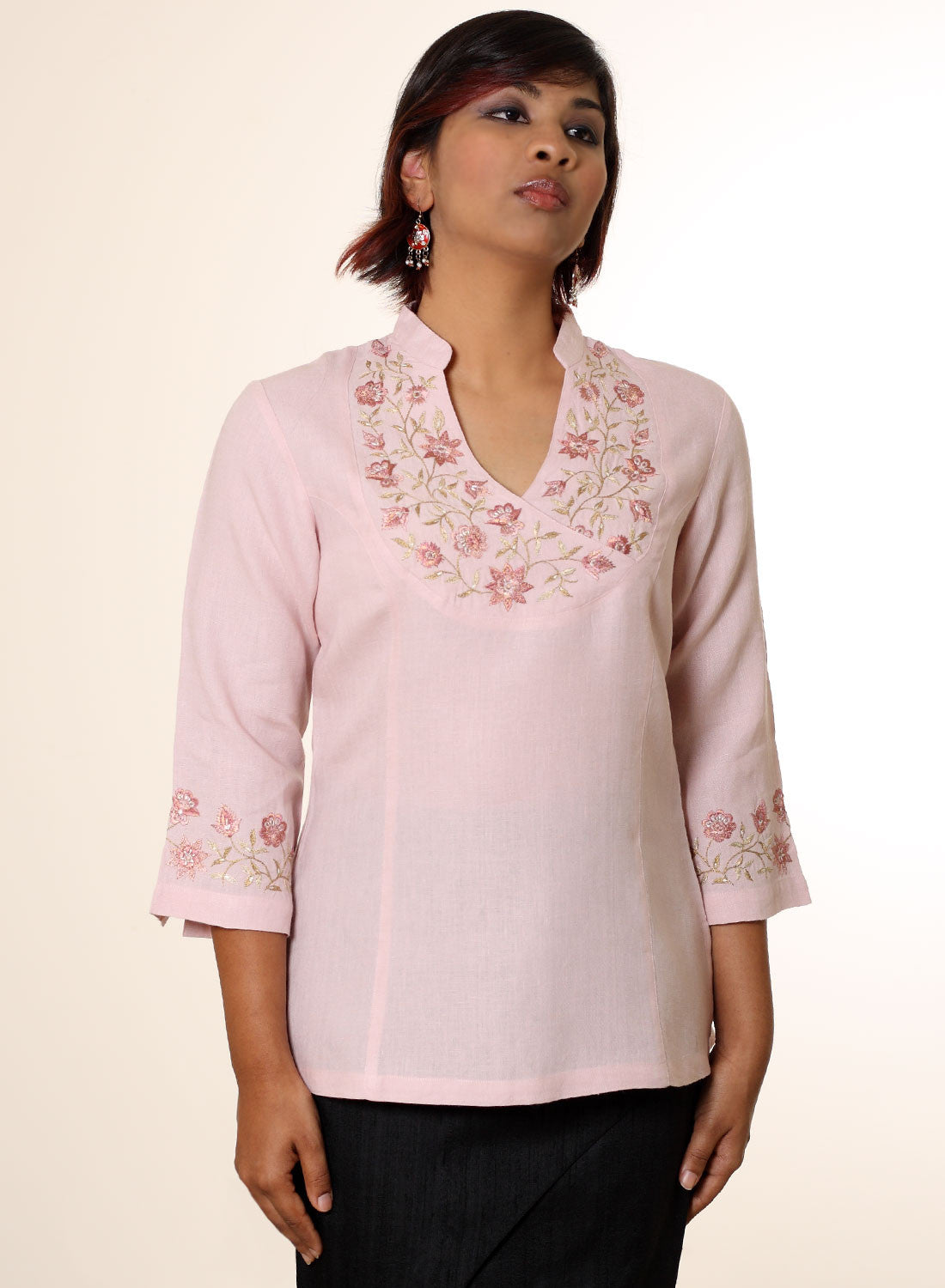 Asymmetric Embroidered Tunic - MINC ecofashion