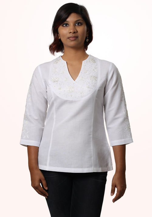 Embroidered Top in White Linen with Asymmetric Yoke