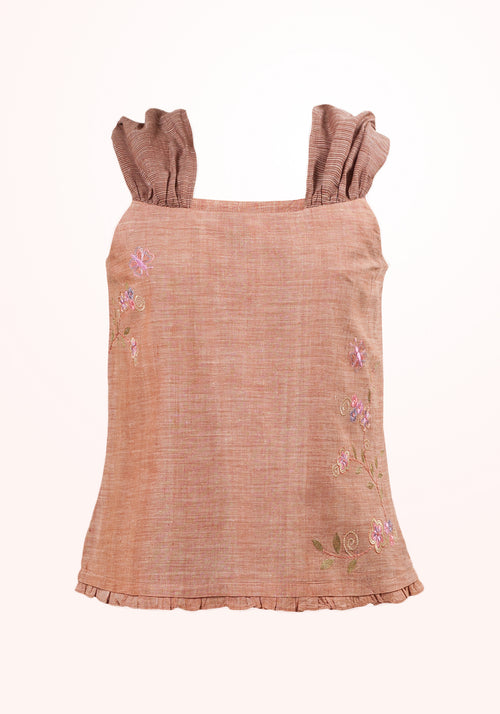 Butterscotch Girls Top In Brown Cotton Khadi