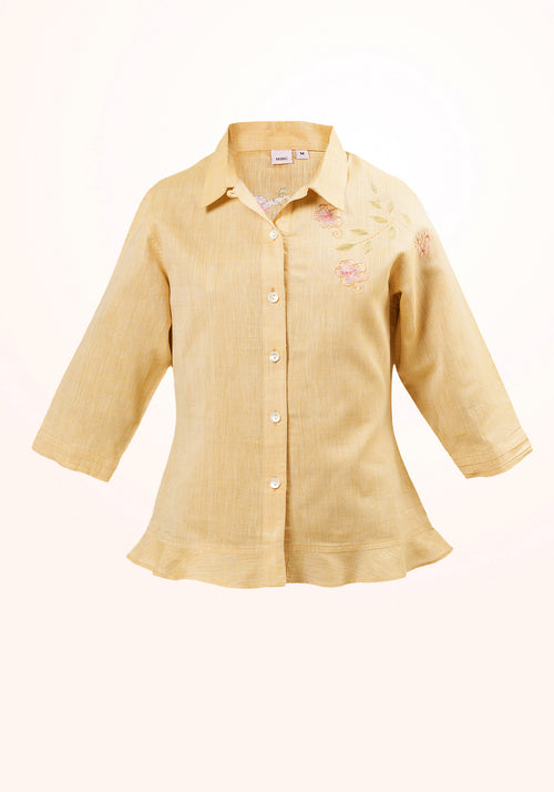 Caramel Girls Top In Cotton Khadi