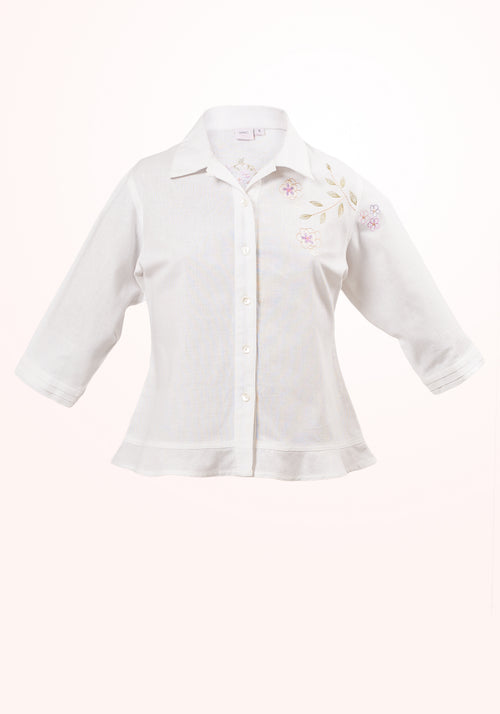 Daisy Girls Top In Off White Cotton Linen