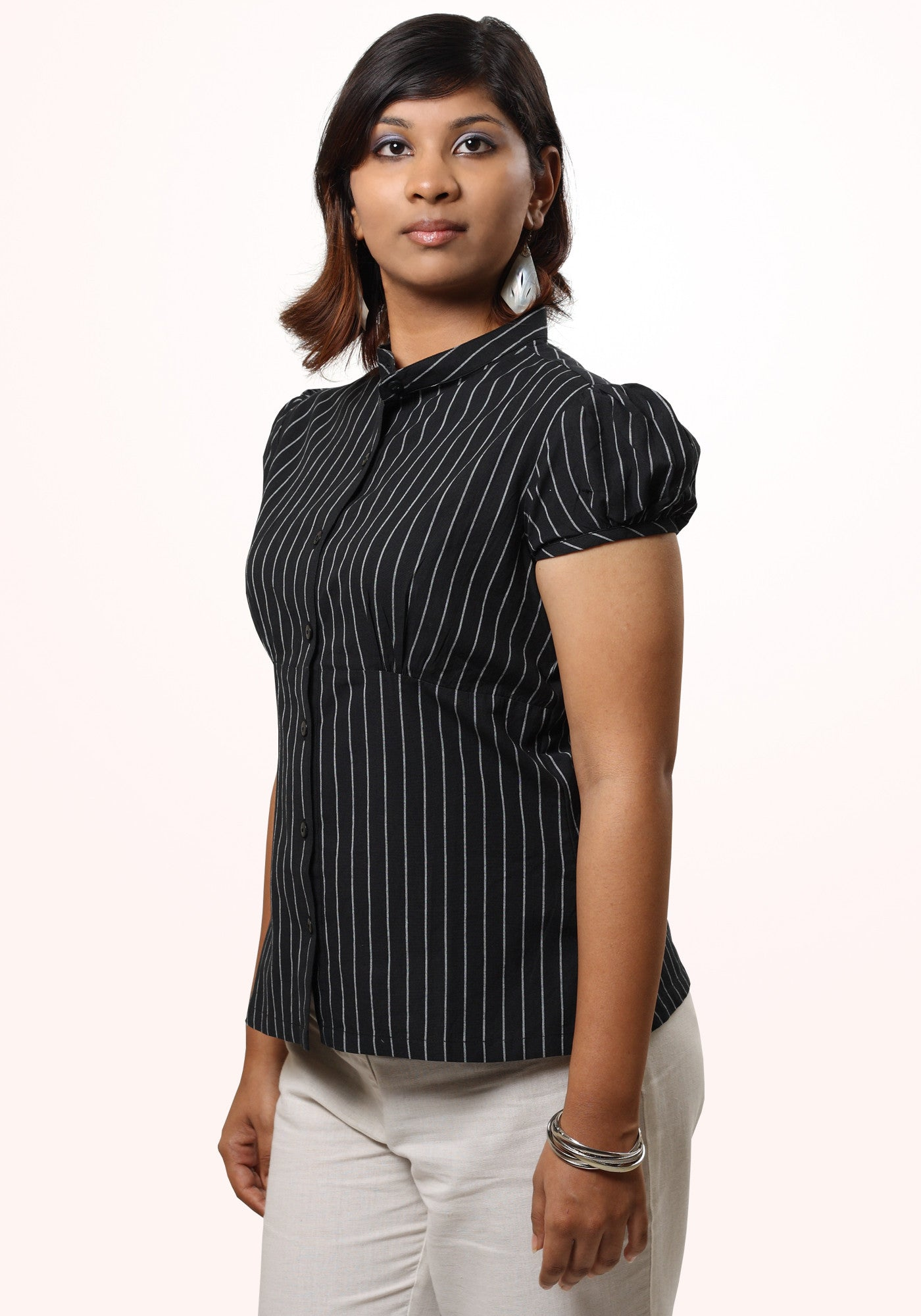 Short Sleeve Shirt In Black Stripe Cotton - MINC ecofashion