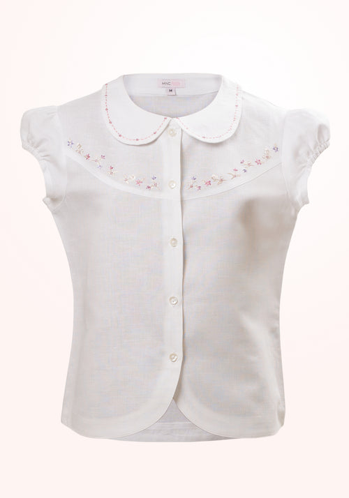 Starlight Girls Top In White Linen Cotton