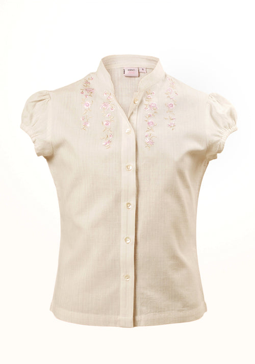 Marshmallow Girls Top In Cotton Khadi