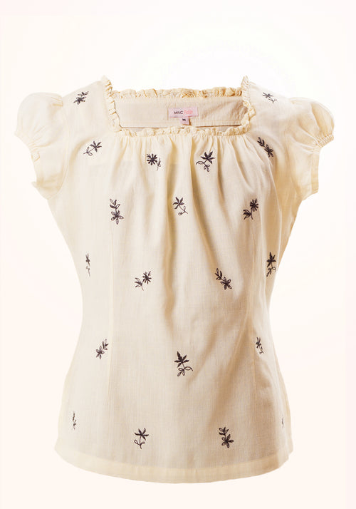 Blossom Girls Top In Off White Cotton Khadi
