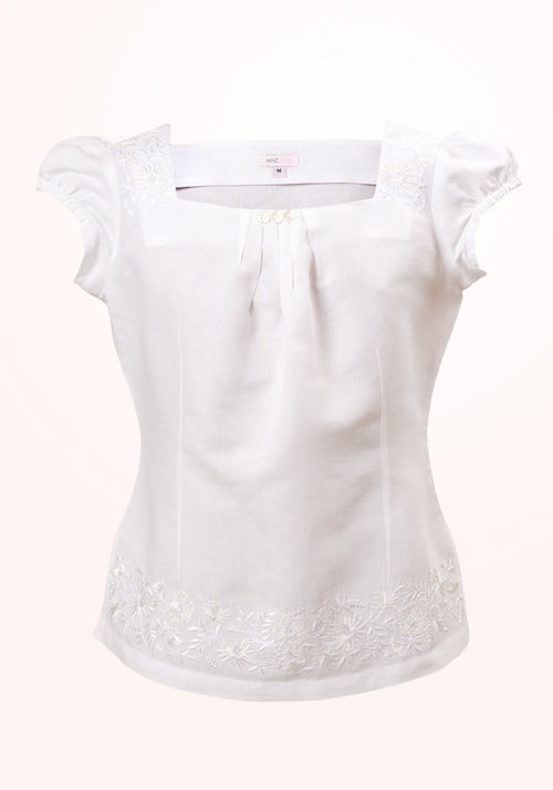 Aster Girls Top In White Cotton Linen