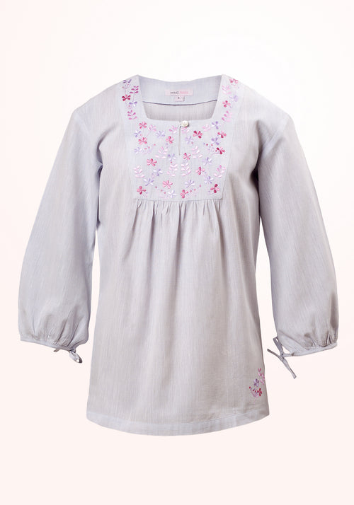 Periwinkle Girls Top in Blue Cotton Khadi