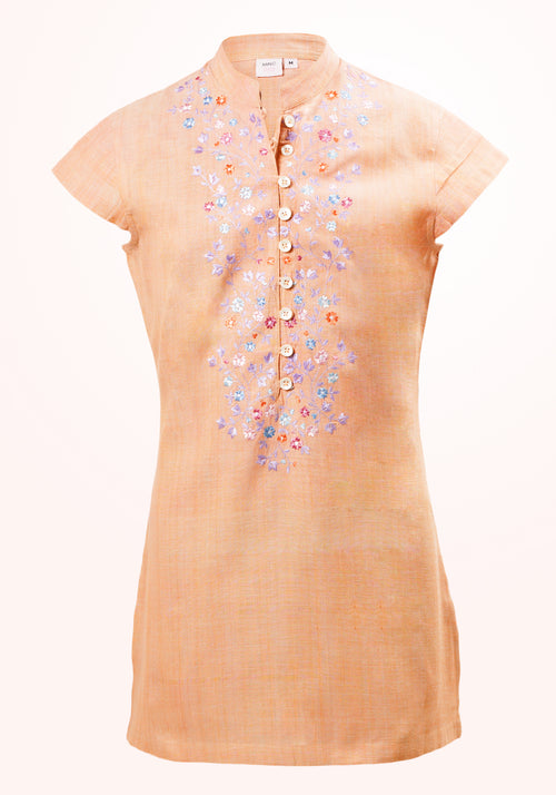 Scarlet Pimpernel Girls Top In Orange Cotton Khadi