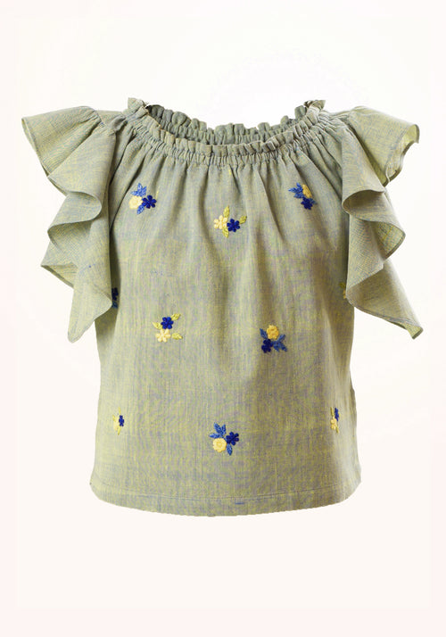 Peppermint Girls Top In Aqua Cotton Khadi