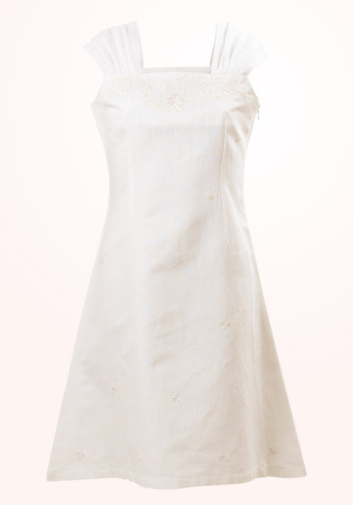 Lily White Girls Short Dress in White Cotton Linen