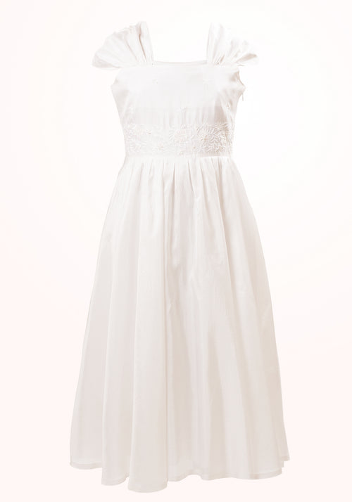 Irene Embroidered Girls Dress in White Silk
