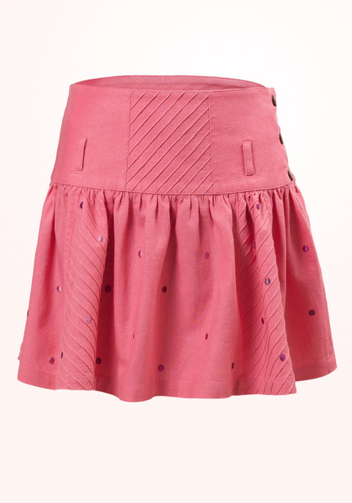 Bubblegum Girls Skirt in Pink Linen