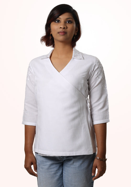 Madhuri White Embroidered Asymmetric Linen Shirt