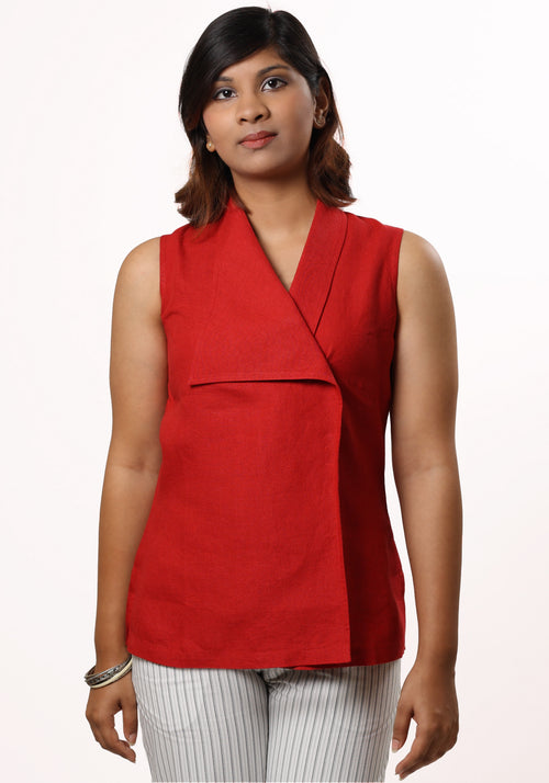 Women's Asymmetric Shirt in Red Linen