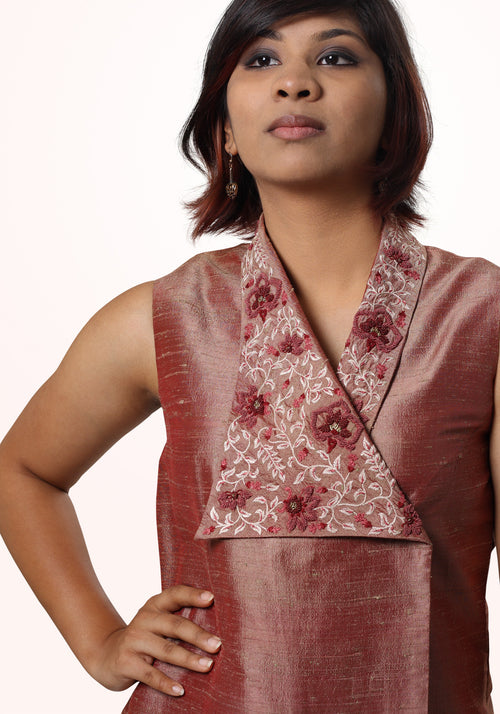 Asymmetric Hand Embroidered Top in Brick Red Silk
