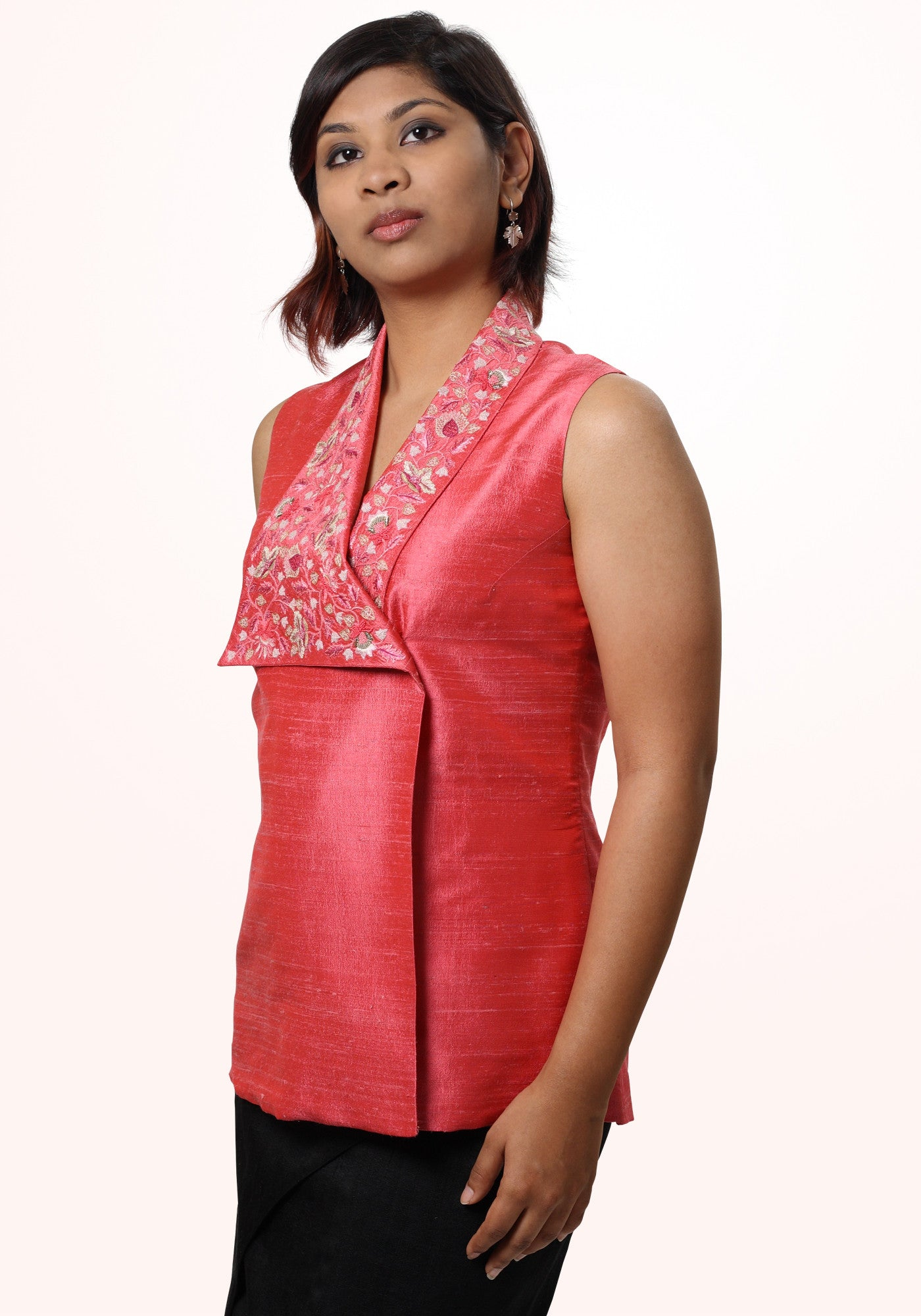 Asymmetric hand embroidered top - MINC ecofashion