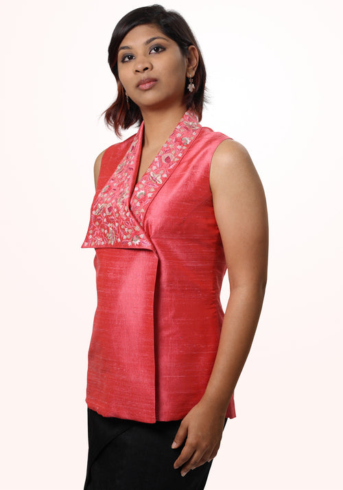 Asymmetric hand embroidered top
