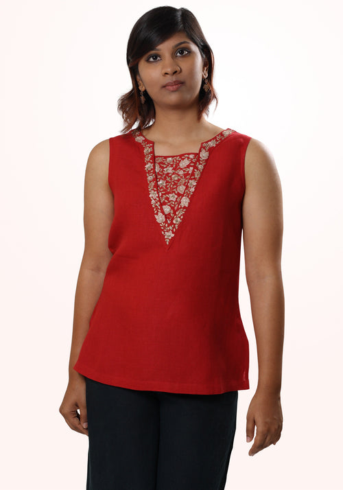 Gilly Embroidered Linen Top in Red and Gold