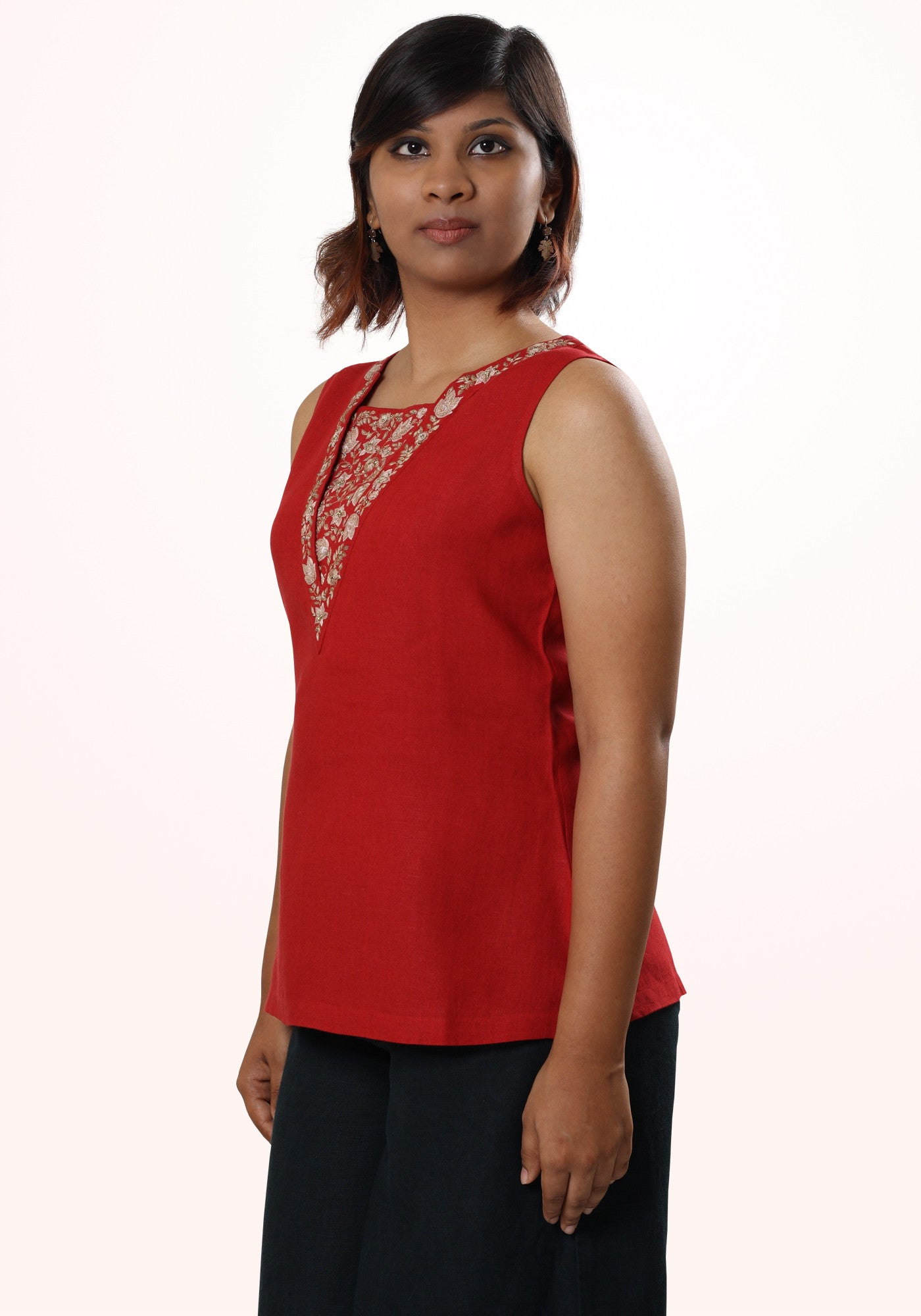 Gilly Embroidered Linen Top in Red and Gold - MINC ecofashion