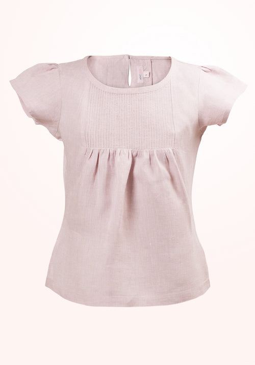 Primrose Girls Top In Lilac Linen