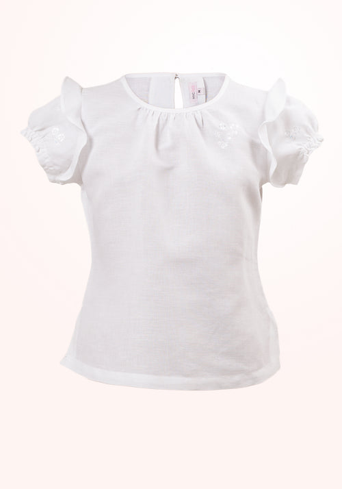 Snowflake Girls Top in White Linen Cotton