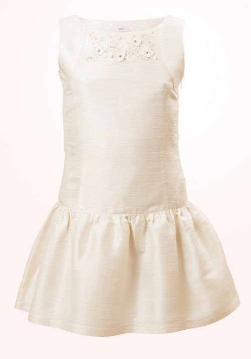 Calla Embroidered Girls Dress in White Silk
