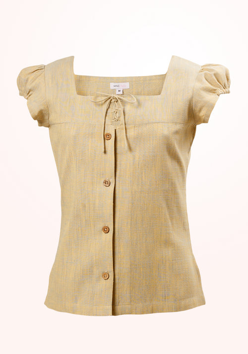 Prairie Girls Top In Yellow Cotton Khadi