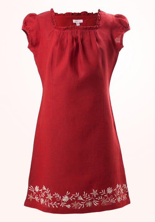 Ruby Girls Short Dress in Red Linen