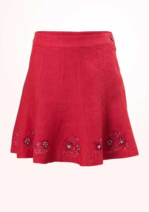 Raspberry Ice Girls Skirt in Fuchsia Linen